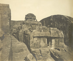 East view of rock-cut ratha on the hill, Kallugumalai, Tinnevelly District